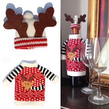 2pcs/set Christmas Decoration Red Wine Bottle Cover Bags Santa Claus Dinner Table Decoration Clothes With Hats Home Party Decors(China (Mainland))