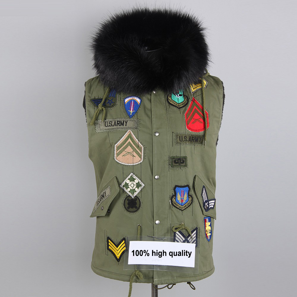 Army fur coat jackt women winter vest with logo badge appliques embbroidery pockets hooded US Army cost fashion fur clothing(China (Mainland))