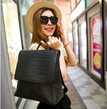 Toposhine New PU Leather Square Alligator Women Backpack Solid Simple Schoolbag Designer Backpack Handsome(China (Mainland))
