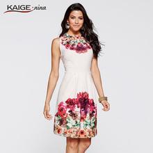 ** KaigeNina 時尚熱賣夏日風情印花削肩洋裝