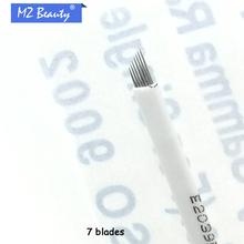 Permanent makeup needle blades 7 needles white colors needle blade microblading needle eyebrow tattoo blade(China (Mainland))