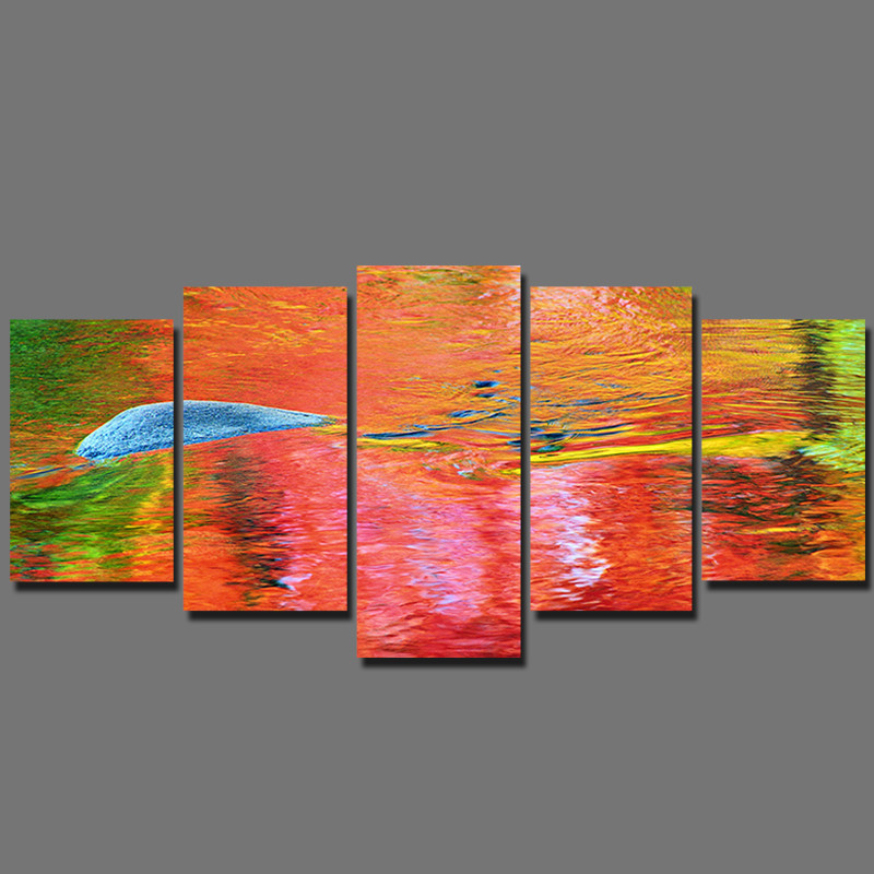Big size 5 pcs Landscape Children living room kids Decoration colorful water Canvas Painting on wall Hanging home decor unframed(China (Mainland))