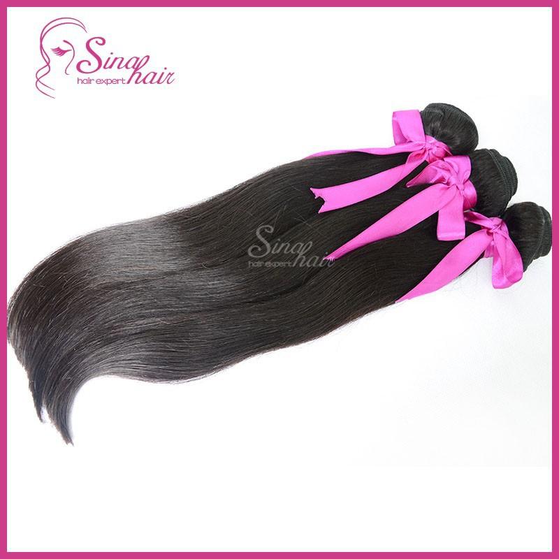 Peru-vian vir-gin hair straight 3 bundles lot hu-man hair weave un-processed color 1b natural black queen hair products(China (Mainland))