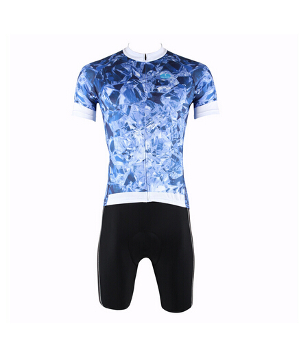 hot selling customized Personality Ice and snow Pattern 2015 summer men breathable Thin wicking Cycling jersey + shorts(China (Mainland))