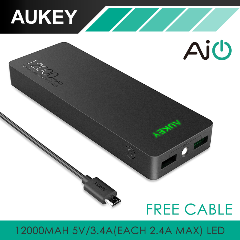 Aukey 12000mAh Portable Power Bank Charger External Battery Pack with AIPower Tech for Apple Android and USB Powered Devices HTC