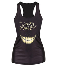 women tank tops fashion 2014 harajuku skeleton workout heavy metal punk shirt halloween fitness black tank top women SMV011(China (Mainland))