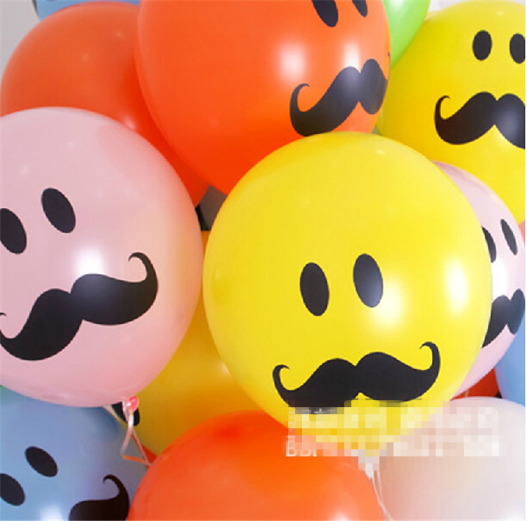 50pcs/lot 12inch printed Latex balloons funny mustache Helium balloon wedding party decoration inflatable toys(China (Mainland))