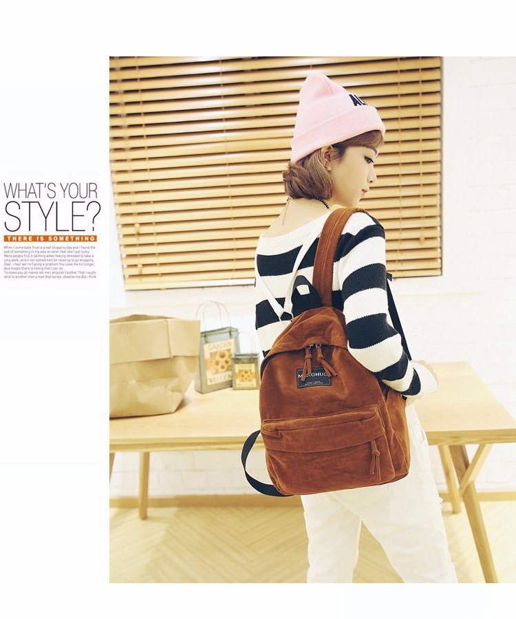 2016 New Women Backpack Preppy Style Suede Backpacks Teenage Girls School Bags Vintage Rivet Travel Backpack Burgundy Gray Black (8)