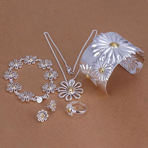 silver fashion 18K chrysanthemum necklace&bracelet&earrings&rings set charms set ,Factory lowest price wholesale(China (Mainland))