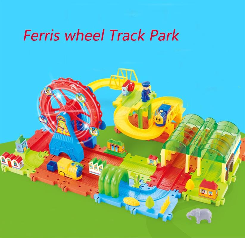 33-70pcs Children Cars Toys 3D Ferris Wheel Toy Train Park Building Blocks Electric Train(China (Mainland))
