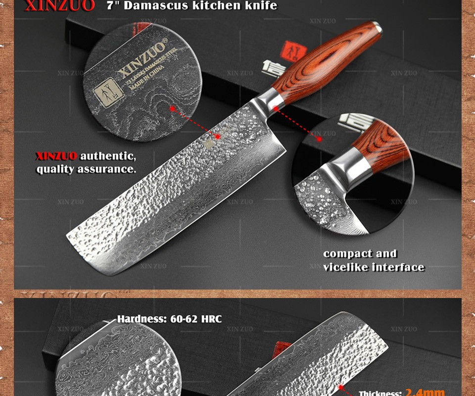 "Buy 2016 New chef knife 7"" chef knife Japanese Damascus steel kitchen knife Color wood handle high quality knife sharp free shipping cheap"