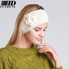 2016 New Fashion Autumn Winter Solid Color Women Flower Headband Turban Manual High Wuality Headgear Knit Headband(China (Mainland))