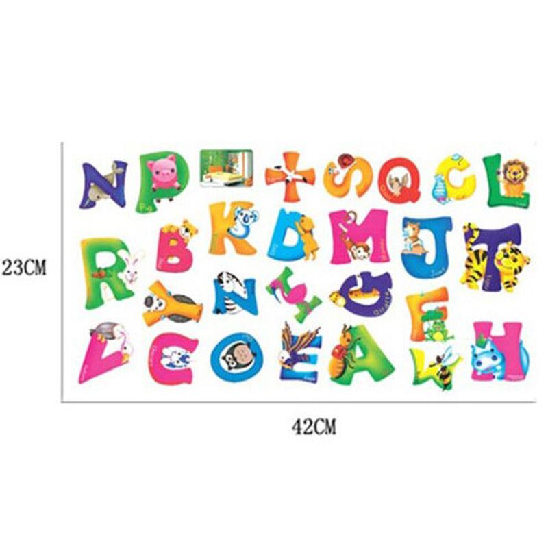 Removable pvc applique alphabet wall stickers home decor for Alphabet mural nursery
