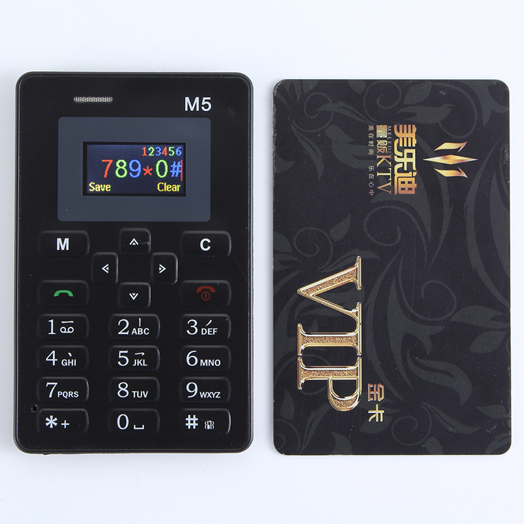 4.8mm Ultra Thin AIEK M5 card mobile phone mini pocket students personality children phone  the most thin card phone