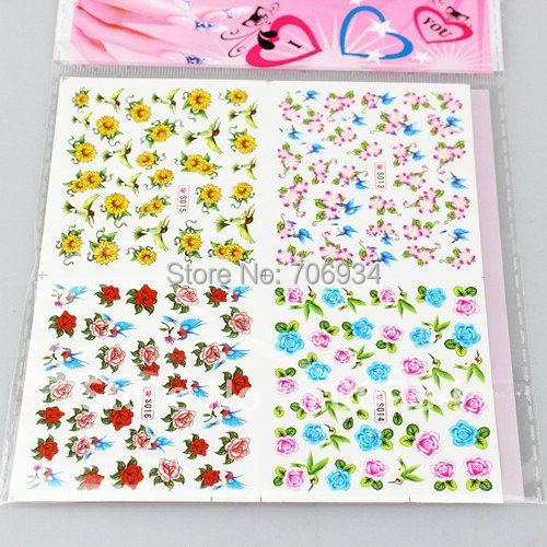 20PCS/lot Mix Nail Art Sticker Decal Water Slide Nail Decal Temporary Tattoos Stickers 4in1