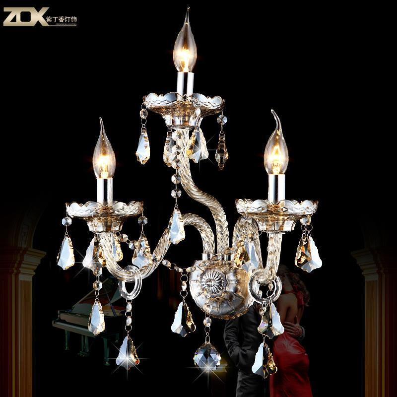 Luxury Crystal Wall led crystal candle Continental bedside living room living room bedroom wall lamp Crystal Wall 3(China (Mainland))