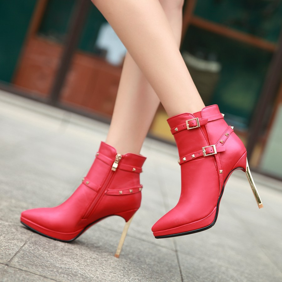 Kickway women Martin boots Ankle boots women shoes pointed toe fashion boots combat boots autumn winter shoes szie:34-43 D271