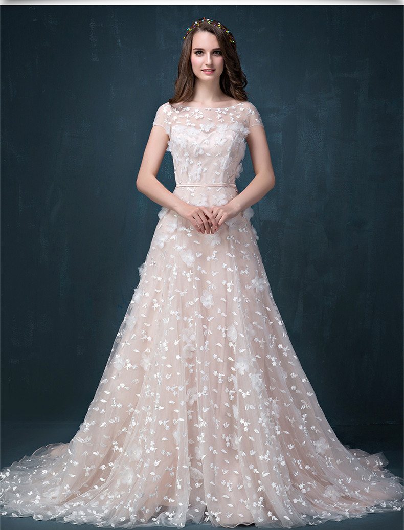 short sleeve cheap champagne lace wedding dress with