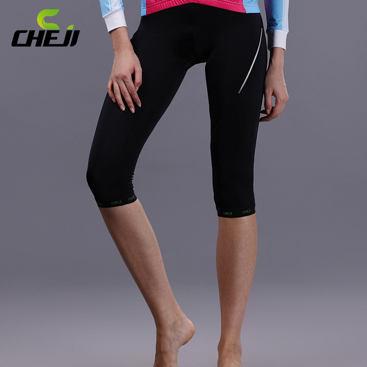 New 2014 black Cycling Women 3/4 pants Breathable Good Quality farbic wholesale bike pants(China (Mainland))