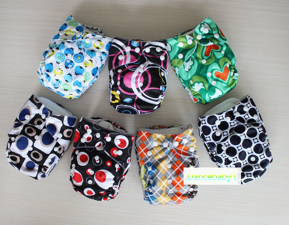 1 PC Diaper & 1 PC New Insert Baby Kids BOYS Cloth Diapers One Size Adjustable Reusable Washable Printed Nappies(China (Mainland))