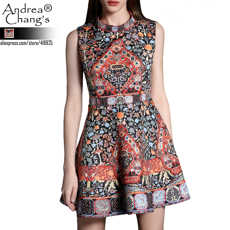 2015 spring summer designer womens dresses black white beading chest orange blue vintage pattern print fashion cute brand dressОдежда и ак�е��уары<br><br><br>Aliexpress