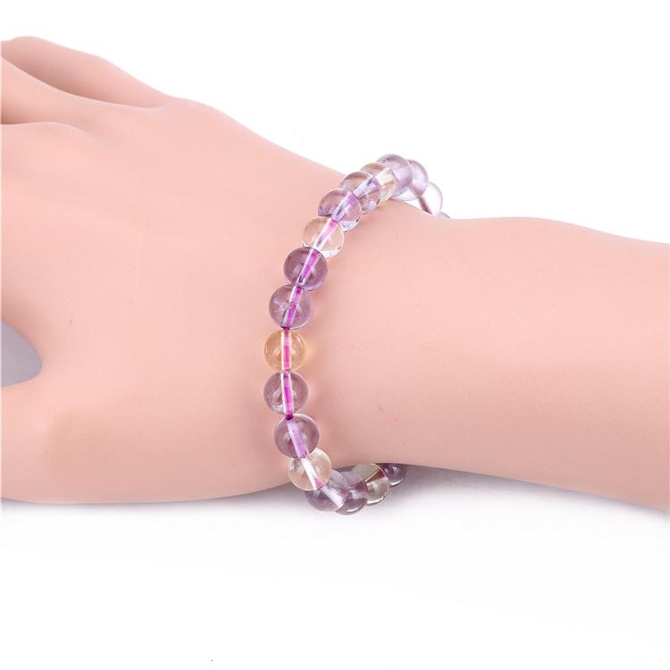 8mm Natural Purple Crystal Bracelet Ametrine Quartz Bracelet Semi Precious Strand Bracelets Friendship Lover Bangles HD266(China (Mainland))