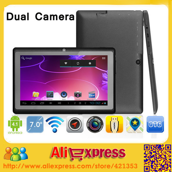"Wholesale Cheapest 7"" Android 4.1 Allwinner A13 Q88 Dual Camera Tablet PC Capacitive Screen, 10 pcs/lot DHL Free Shipping(China (Mainland))"
