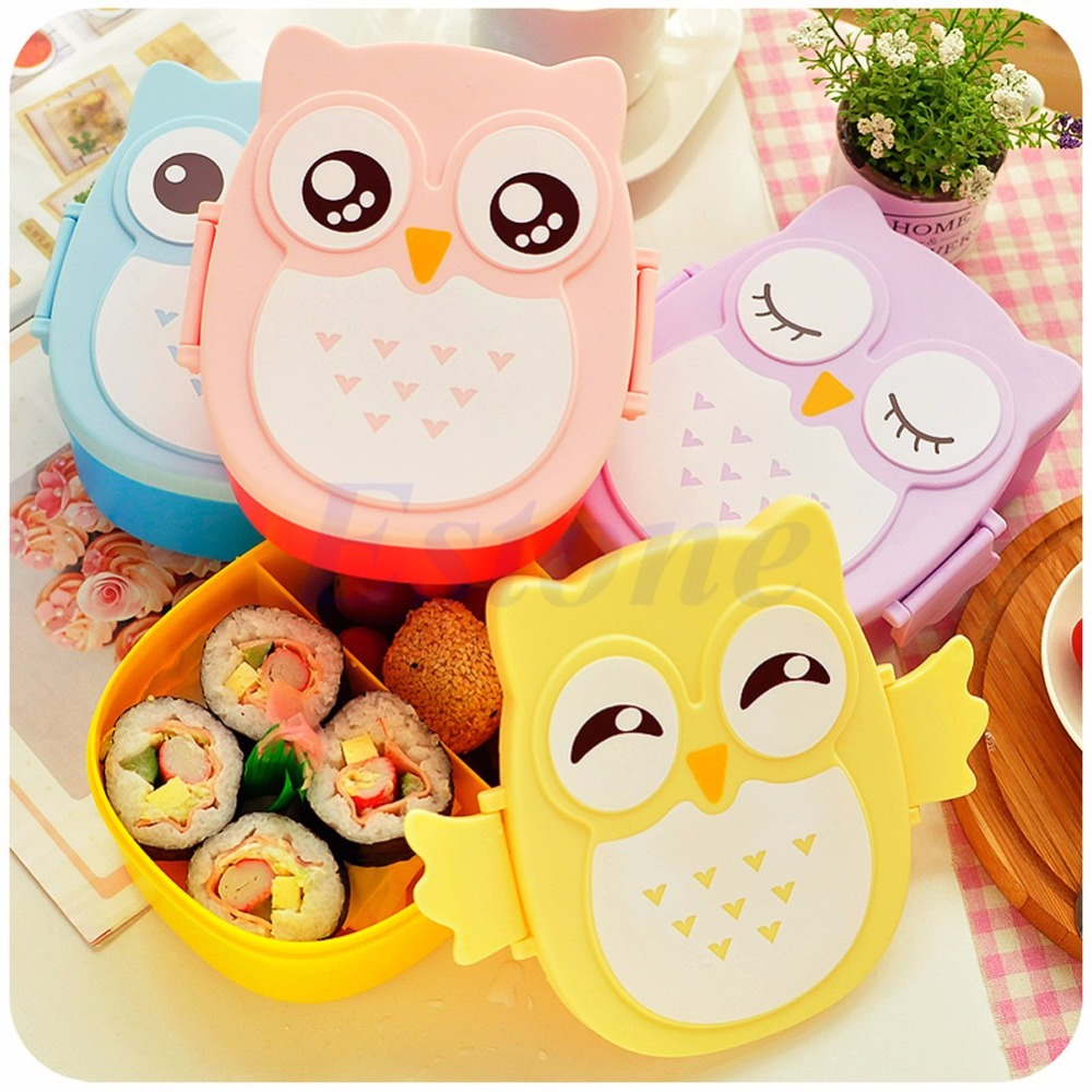 A81 2016 newest Food Contain Bento Box Owl Plastic Cute Cartoon Lunch Box Oven Heating For Kids free shipping(China (Mainland))