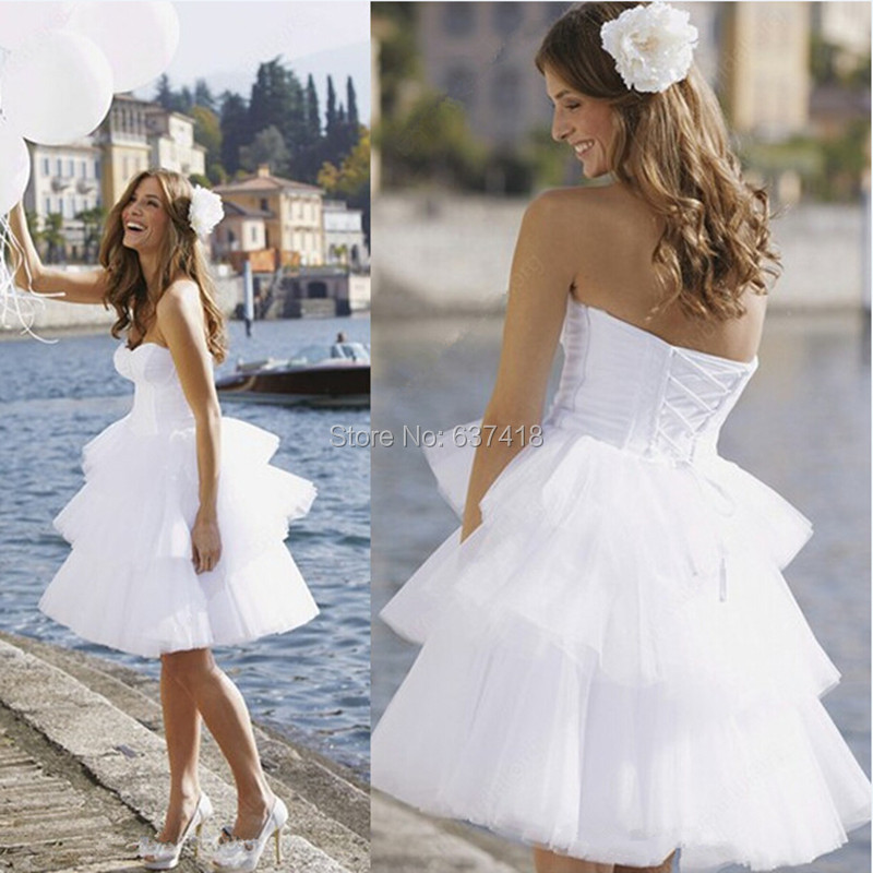Buy white short wedding dress beach for Wedding dresses with lace up back