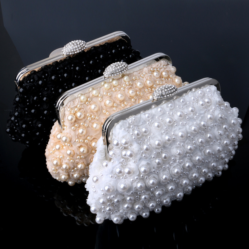 2016 Pearl-studded Handbag Rose Flower Evening Bag Rhinestone Button Clutch Bag With Chains For Dating Weeding (WYB028-83)(China (Mainland))