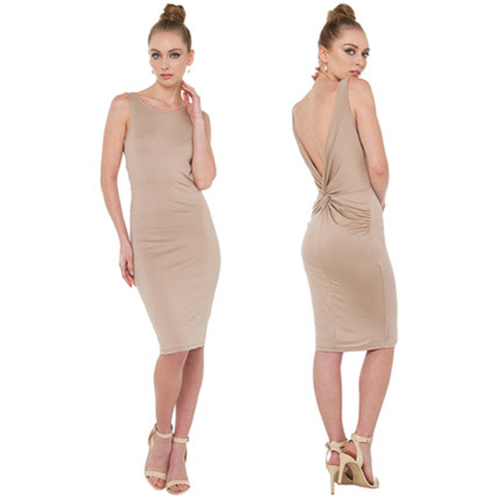 2015 spring and summer new simple sexy halter V-fold knot ornaments Slim pencil dress haoduoyi dresses women(China (Mainland))
