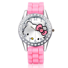 2015 Hot Brand Hello Kitty Cartoon watches Women Silicone Jelly children girls dress WristWatches Casual Quartz kid watch(China (Mainland))