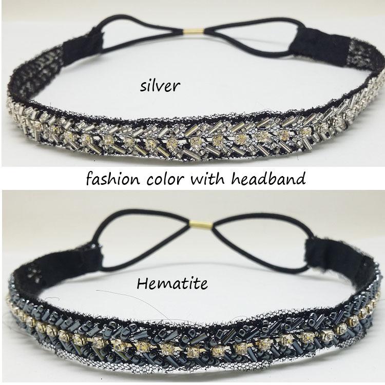 crystal and hematite Handmade cupchain rhinestone and glass tube elastic headband of women Hair Accssories Free shipping(China (Mainland))
