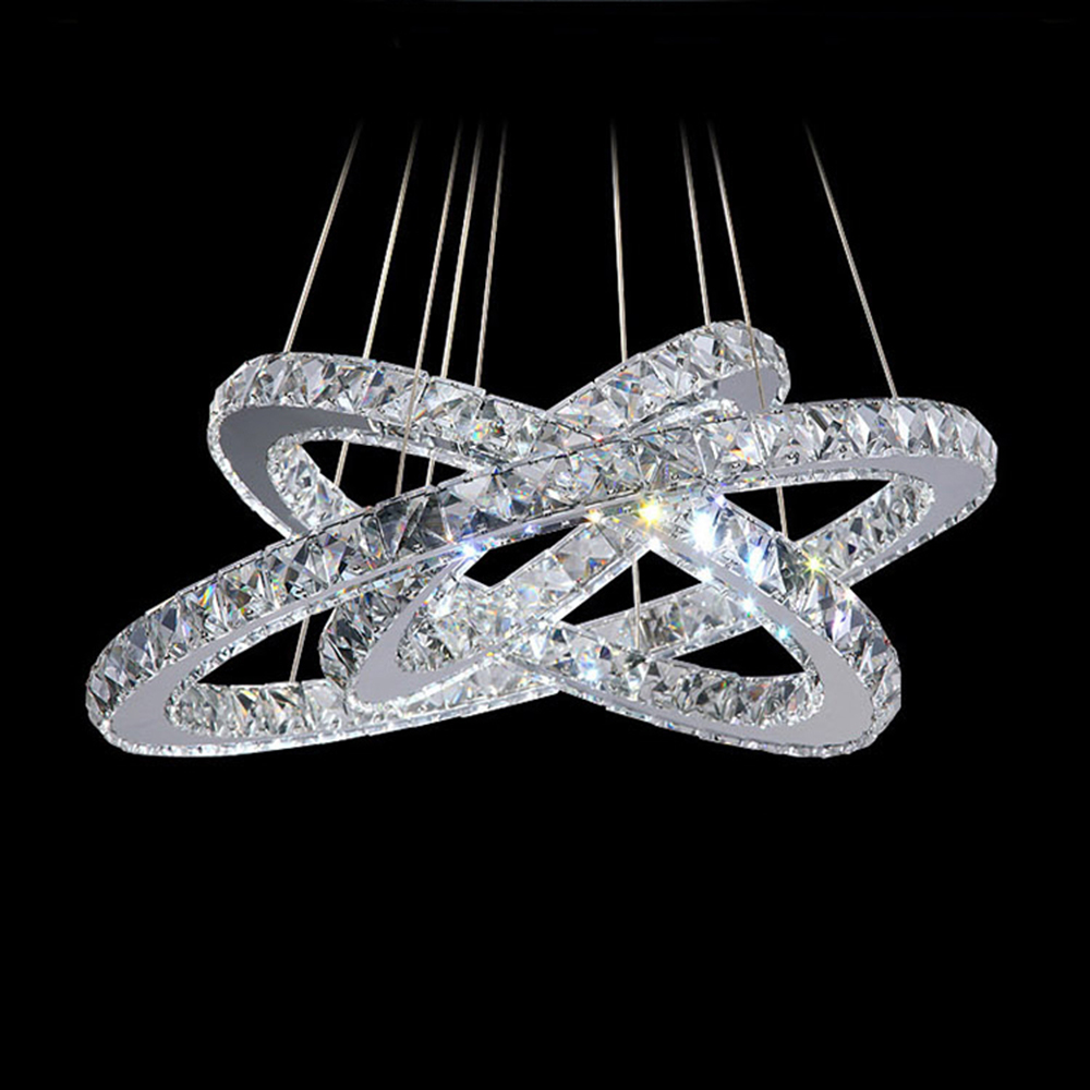 LED Crystal Ring Chandelier Light Modern Circle Lamp / Lights Fixture Ready Stock - CC Lighting store