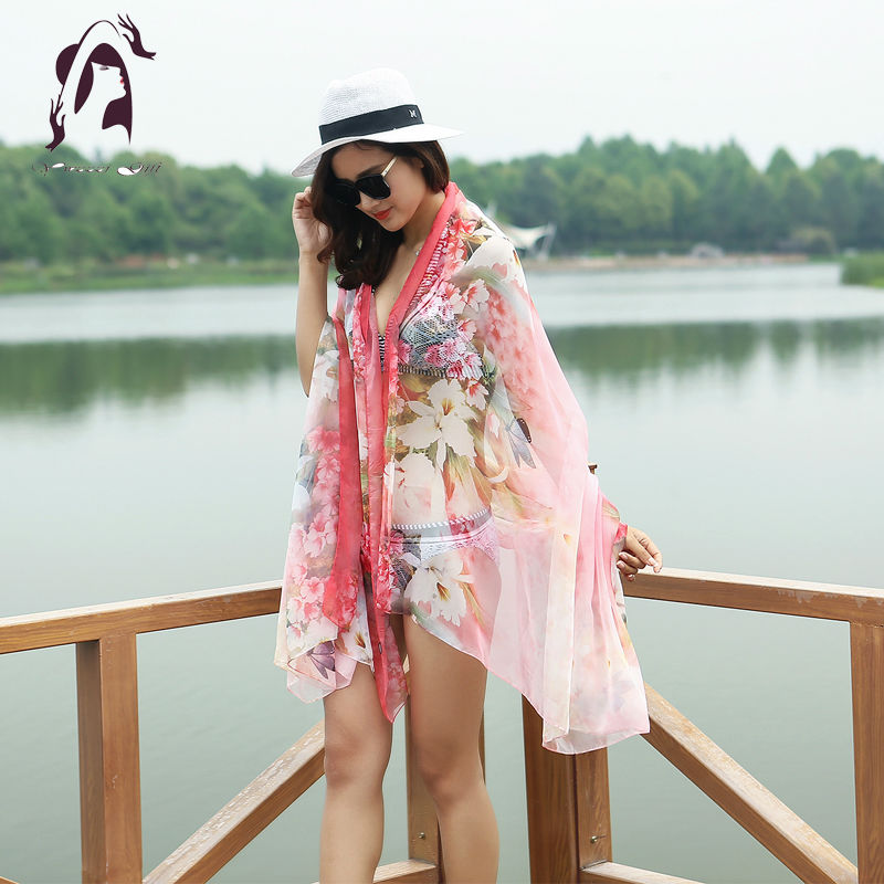 Summer Women Silk Scarve Soft Print Floral Scarf Chiffon Long Shawls 150*200cm Girls Beach Scarves Autumn Wraps Scarves Ladies(China (Mainland))