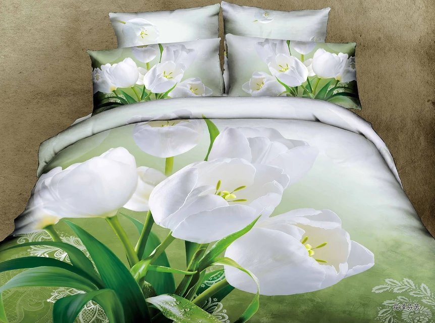European 3D white flower 100% cotton quality 4pcs princess wedding bedlinen set 3d comforter/duvet cover bedspread set/3146(China (Mainland))