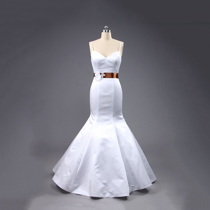 Cheap wedding dress real sample sweetheart mermaid satin for Satin sweetheart mermaid wedding dress