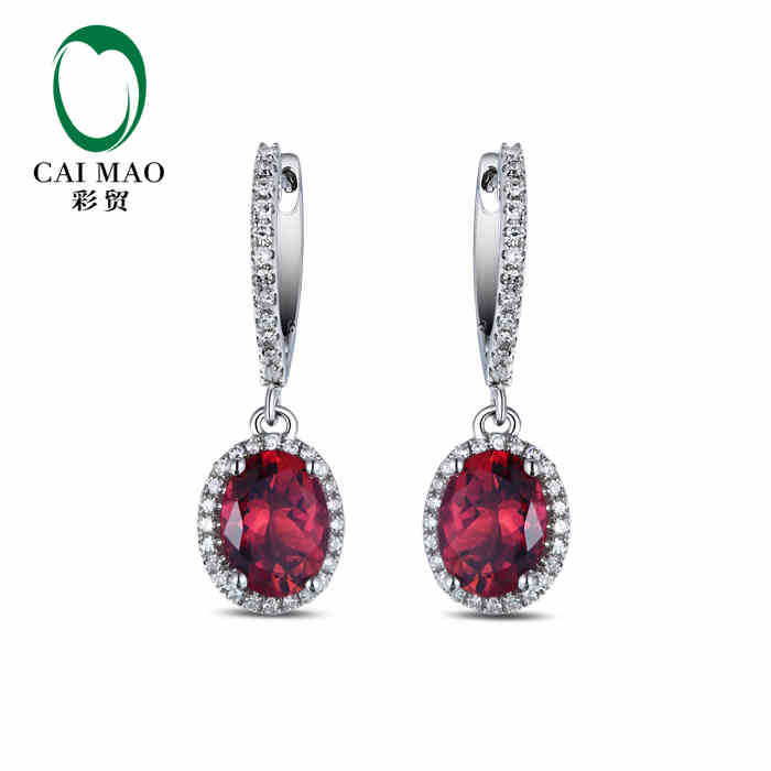 CaiMao 18KT/750 White Gold 3.34 ct Natural IF Pink tourmaline &amp; 0.30 ct Full Cut Diamond Engagement Gemstone Earrings Jewelry<br><br>Aliexpress