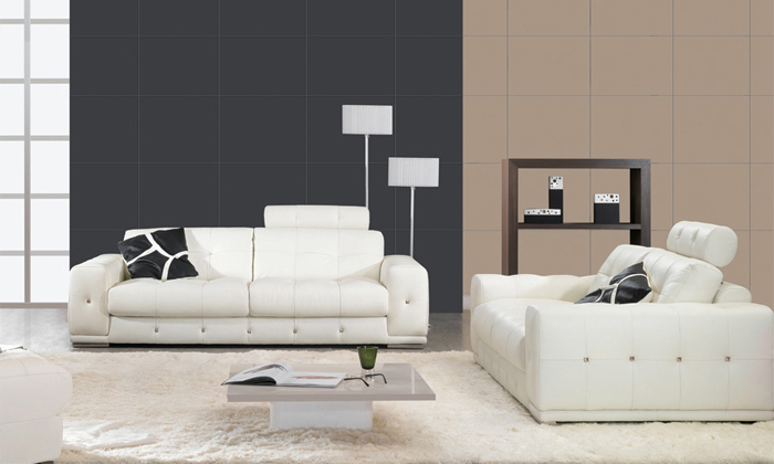 free shipping 123 sofa set classic white leather top grain leather solid wood frame