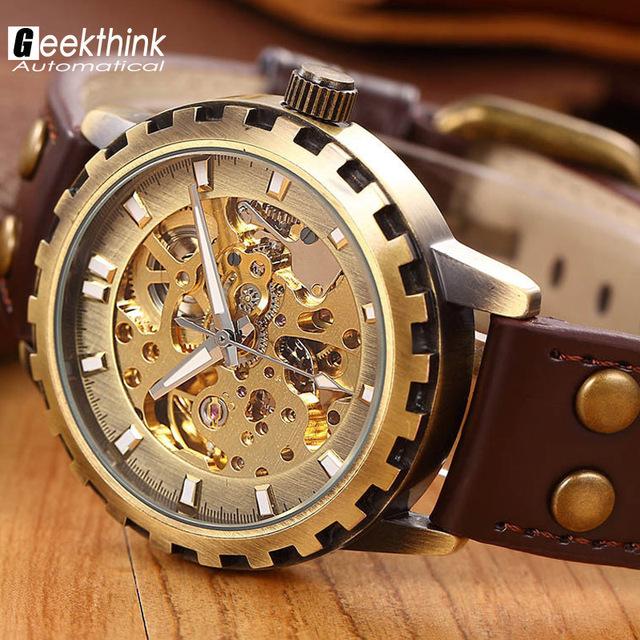 Марка кожаный ремешок мужчины мужской военная часы автоматическая скелет механические часы self-ветер старинные роскошные качество подарок стимпанк