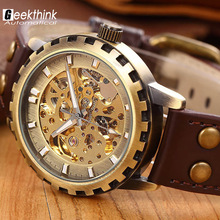 brand leather band men male military clock automatic Skeleton mechanical Watch self wind Vintage luxury quality gift Steampunk(China (Mainland))