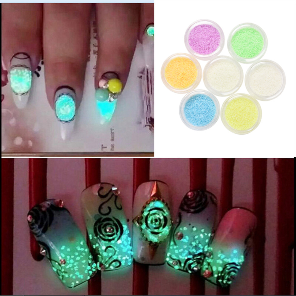 3d glow in the dark glitter nail decoration diy acrylic for Acrylic nail decoration