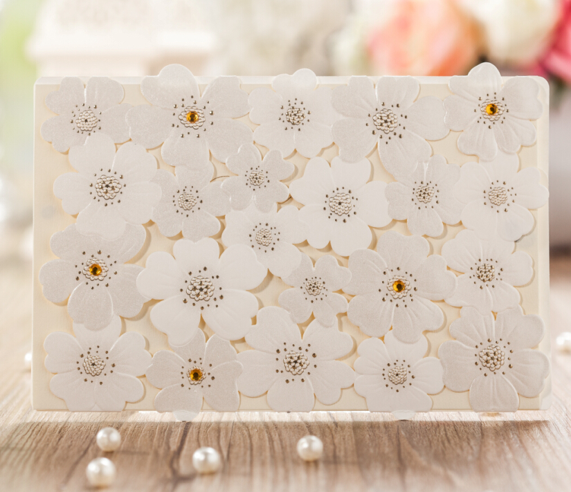 Boda Limited 2016 New Design 3d Flowers Wedding Invitations 30 Pcs Supplies Decorations Very