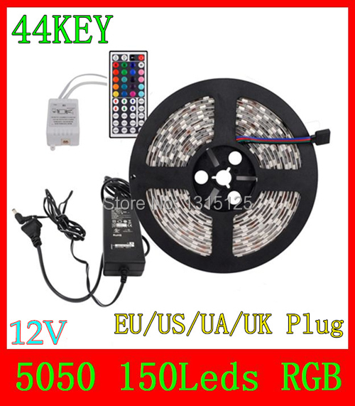 5M SMD 5050 150Leds RGB LED Strips and 44 Key IR Remote Control and 3A Power Adapter For Home Decoration +free shipping(China (Mainland))