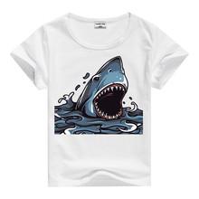 Fashion Short Sleeve Cartoon horrible shark tees Tops T-shirt Shirt Kids Clothes Boys Tees Tops Child Clothing Tshirt