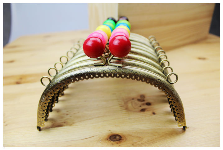 Free shipping/ 24Color Bronze Candy Bead Purse Frame Handle for Bag Sewing Craft Tailor Sewer/wholesale(China (Mainland))