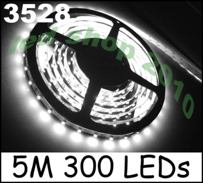 Wholesale!!10 X 5M 12V White 3528 SMD LED Flexible Strip 300 leds 500cm No-Waterproof free shipping<br><br>Aliexpress