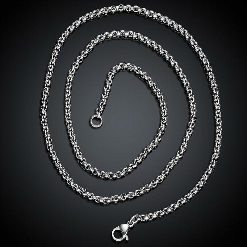 2.5MM 45CM 50CM 55CM 60CM Long Necklace Chains Titanium Steel Jewelry Vintage Accessories for Women men unisex free shipping(China (Mainland))