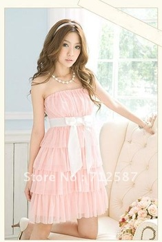 Lady Off Shoulder Chiffon Sexy Casual Bowknot Summer Tiered Cake Tube Dress #5172~free shipping
