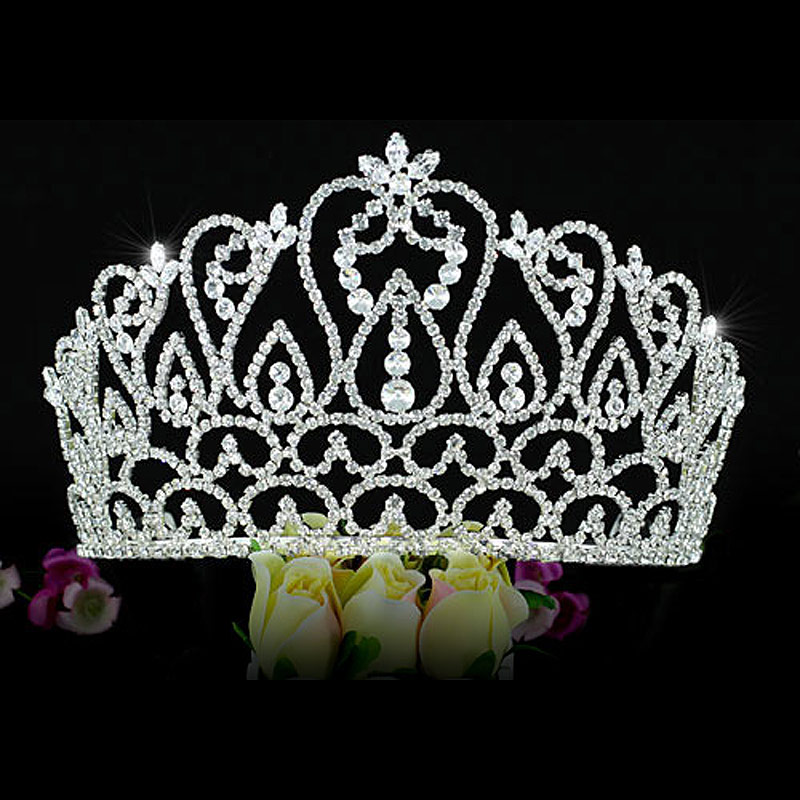 """Large Wedding Pageant Beauty Contest Tall 4.25 """" (10.8 cm) Tiara Crown CT1587(Hong Kong)"""